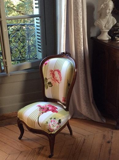 Adrom, formation tapisserie, galerie des élèves, chaise Napoléon