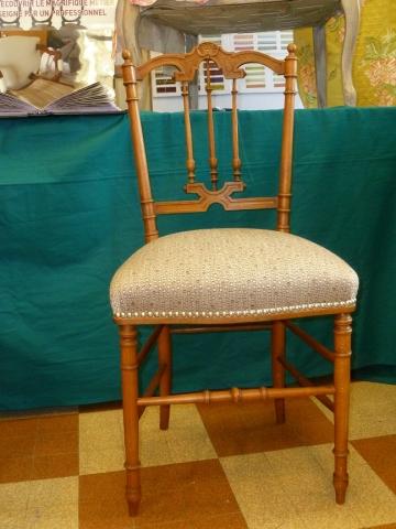 Adrom, formation tapisserie, exposition Morainvilliers, petite chaise Napoléon