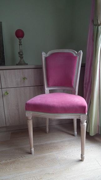 Adrom, formation tapisserie, galerie des élèves, chaise Louis XVI