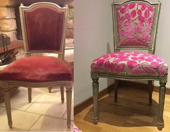 Adrom, formation tapisserie, relooking avant-après chaise Louis XVI