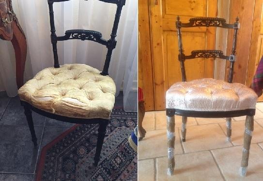 Adrom, formation tapisserie, relooking avant-après chaise Napoléon