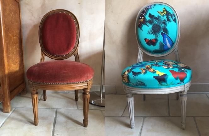 Adrom, formation tapisserie, relooking avant-après chaise médaillon enfant