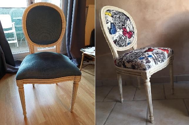 Adrom, formation tapisserie, relooking avant-après chaise médaillon