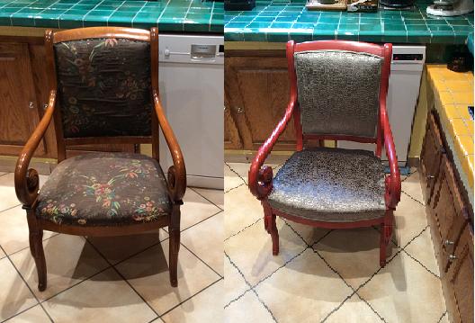 Adrom, formation tapisserie, relooking avant-après fauteuil à crosses
