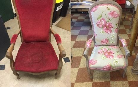 Adrom, formation tapisserie, relooking avant-après fauteuil Voltaire