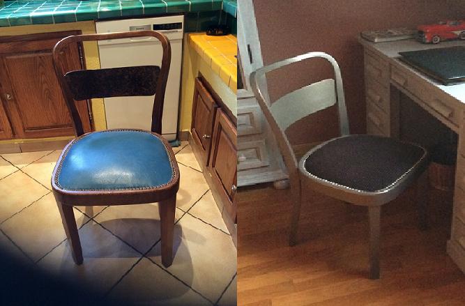 Adrom, formation tapisserie, relooking avant-après petite chaise