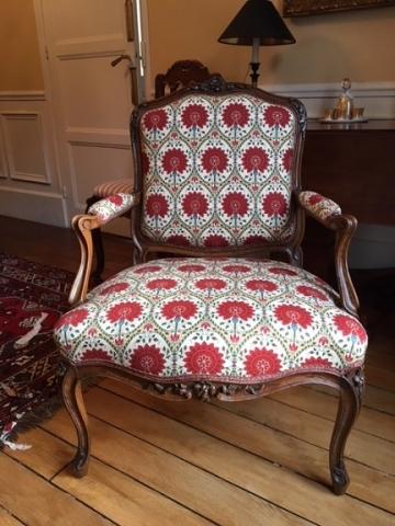 Adrom, formation tapisserie, réalisations 2017 - 2018, fauteuil Louis XV