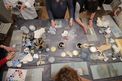 Adrom, formation tapisserie, Stage de patine