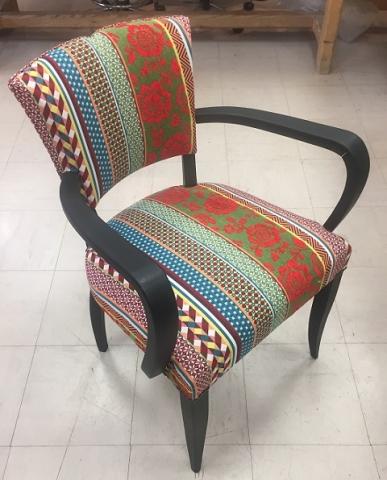 Adrom, formation tapisserie, réalisations 2017 - 2018, fauteuil bridge